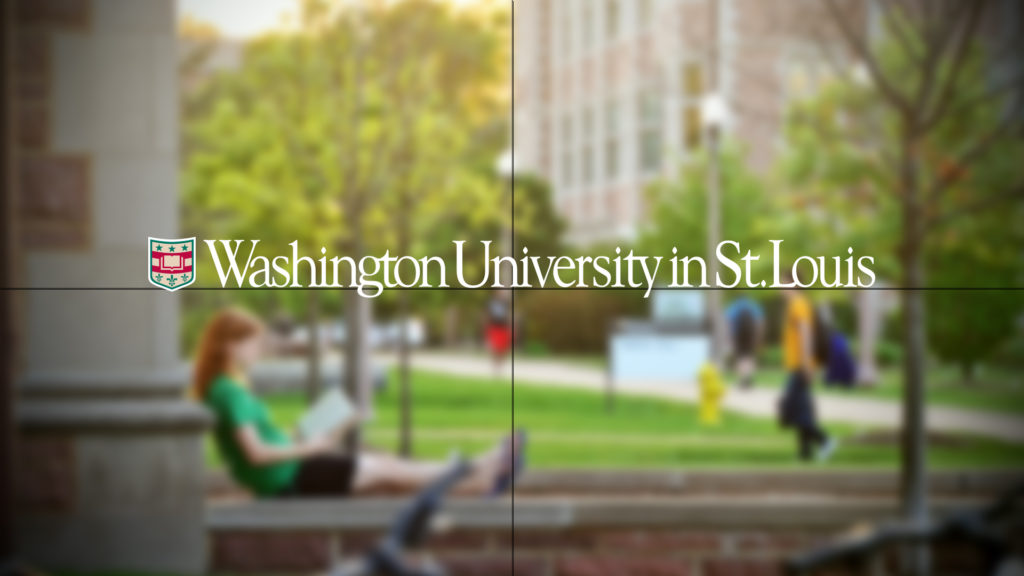 Blurred image which is a still from a video with crosshairs and the WashU logo in the center and in focus on top