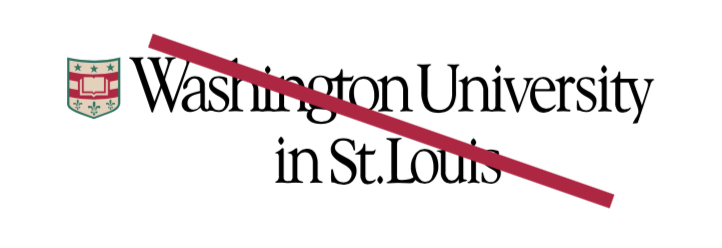 WashU logo with shield and typography repositioned