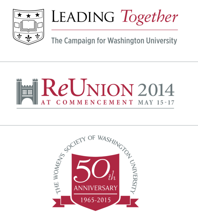 The image shows the Leading Together logo, Reunion 2014 logo, and the Women's Society of Washington University 50th anniversary logo.
